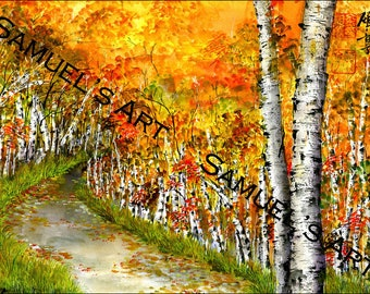 Giclee Print, Art, Artwork, Fine Art, Painting, Home Decor, Gift, Print, Samuels Art, Present, Wall Decor, Birch Tree, Trail, Scenery, Tree