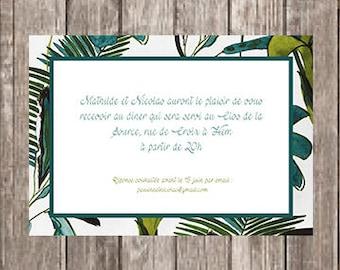 Invitation card party tropical foliage