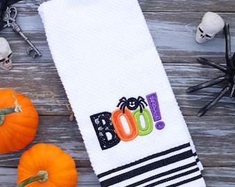 Halloween Embroidered Towel, Halloween Decor, Kitchen Towel, Halloween Towel,