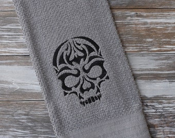 Halloween Embroidered Towel, Halloween Decor, Kitchen Towel, Skull Towel