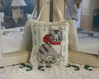 "Kitty Cat mini hanging pillow. 3.5""x2.75""."