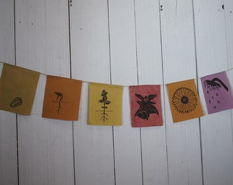 """Natural dyed cotton prayer flags – """"Sunflower's Life"""" – by Sky Like Snow"""
