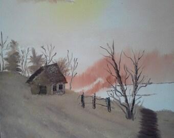 Log Cabin Landscape in Brown Tones Original Painting 16 x 20