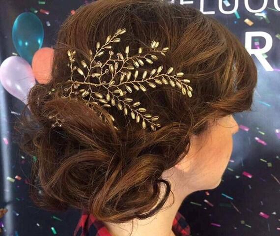 Headdress, golden hue. Bunch of gold rhinestones