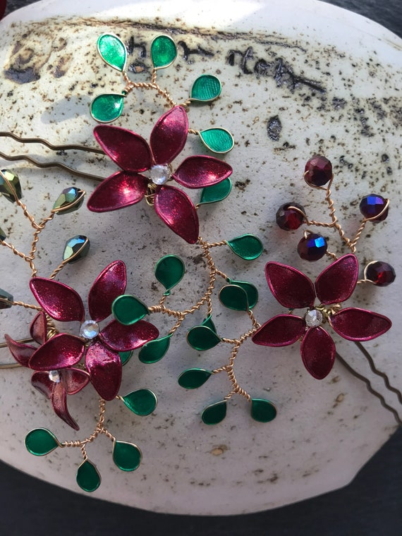 Set 3 hairpins-Mini, enamel and rhinestones