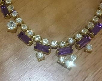 Super sparkly vintage diamanté clear and purple necklace - so pretty - vintage costume jewellery - vintage necklace