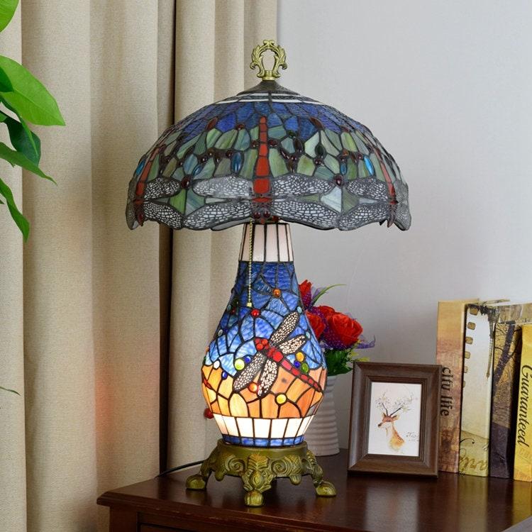 16inch 40cms Tiffany Colorato Vetro Tavolo Lampada Vintage