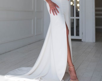 8a3f1521c Long wedding skirt with front slit, Sheath wedding skirt, Sleek fitted  wedding skirt with train, Sexy fit-and-flare wedding dress