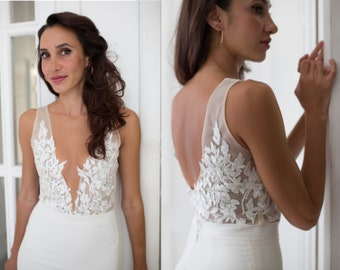 25715cdeb204 Lace wedding bodysuit, Bridal top, Bridal separates, Bridal lace bodysuit  with handmade floral appliqué, Illusion top, Open back top, Sexy