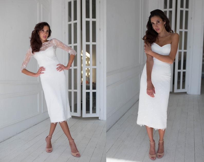 98f42b7a93 Krótka suknia ślubna koronkowa z oddzielną kurtkę styl sukni