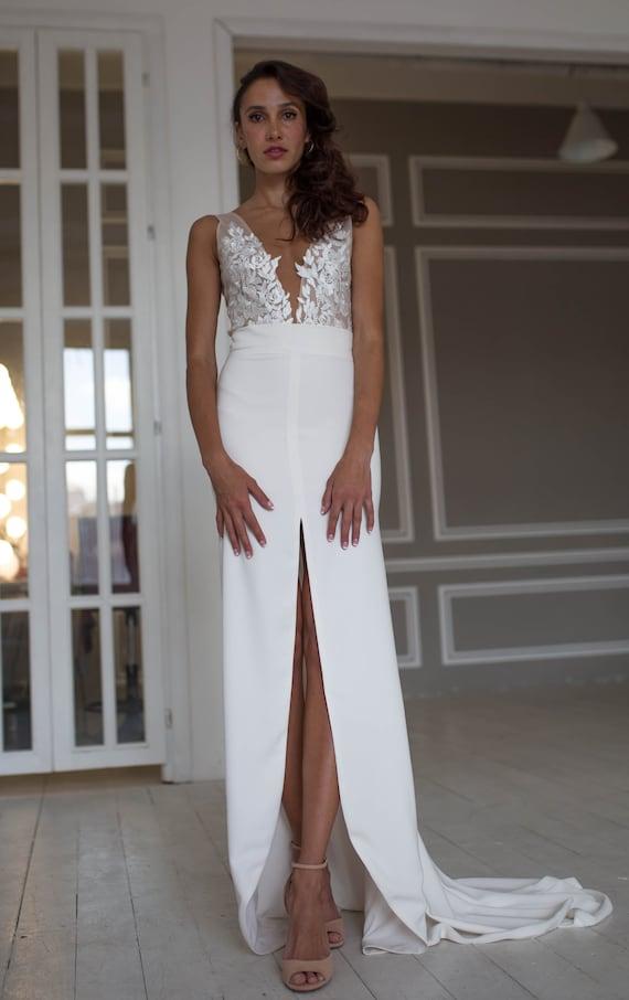 Suknie ślubne Oddziela Dwuczęściowe Sukni ślubnej Body Z Etsy