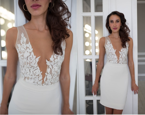 Short Wedding Dress with Lace