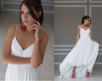 Chiffon wedding dress, Beach wedding dress with hi low skirt, boned bodice and spaghetti straps, Minimal wedding dress, Chiffon gown