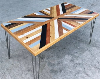 reclaimed wood and metal dining table farmhouse reclaimed wood dining table desk hairpin leg pattern custom wood dining table etsy