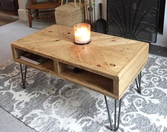 Incroyable Reclaimed Wood Coffee Table X Pattern Hairpin Legs   Industrial   By Wood U0026  Broome Design