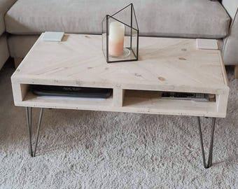 Reclaimed Coffee Table Rustic Industrial Hairpin Legs Etsy