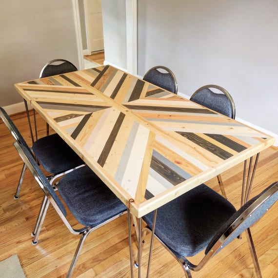 Reclaimed Pallet Dining Table And Bench Hairpin Legs By: Reclaimed Pallet Wood 6 Seater Dining Table Hairpin Legs