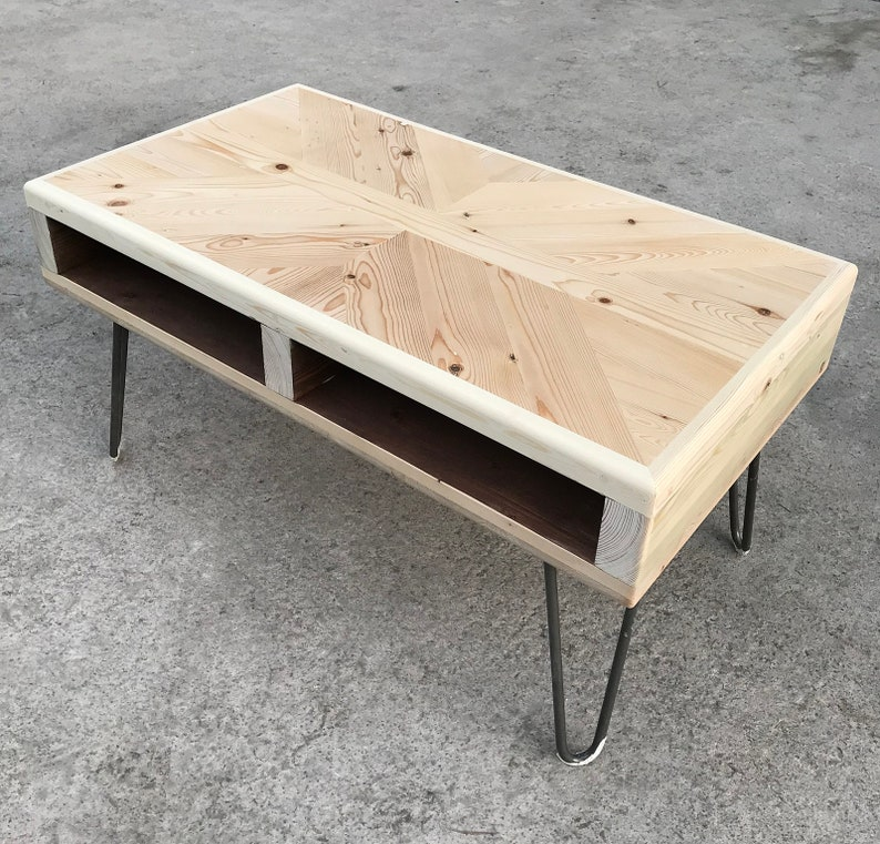 Natural Wood Coffee Table.Reclaimed Wood Coffee Table Natural Wood Colour Industrial Hairpin Legs
