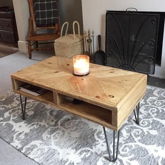 Round Wood Hairpin Coffee Table: Reclaimed Wood Coffee Table X-Pattern Hairpin Legs