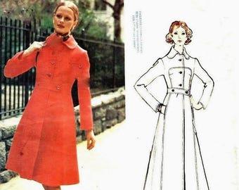 "Vintage 1970's Sewing Pattern Vogue Couturier Design Fabiani Coat Bust 34"""