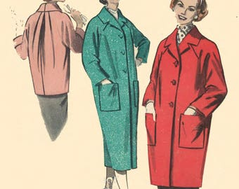 """Vintage 1950's Sewing Pattern Quick & Easy Coat B 34"""" Reproduction"""