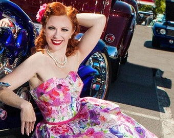 Vintage 1950s Sewing Pattern: Rockabilly Strapless Sundress & Bolero - Multi-Sized