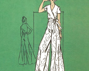 """1970s Sewing Pattern: 'Easy to Sew' Wide leg Palazzo Pants, Wrap Around Top - Bust 32.5"""" (82.6cm)"""