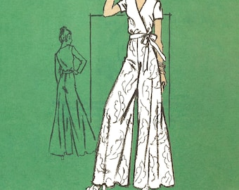 """PDF - 1970s Pattern: Wide leg Palazzo Pants, Wrap Around Top - Bust 32.5"""" (82.6cm) - Instantly Print at Home"""