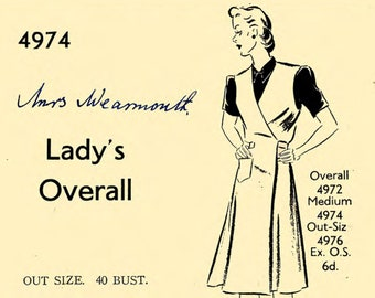 "Vintage 1940/'s Sewing Pattern Lady/'s Overalls  Mrs Mop WW2 WWII Bust 40/"" Wartime"