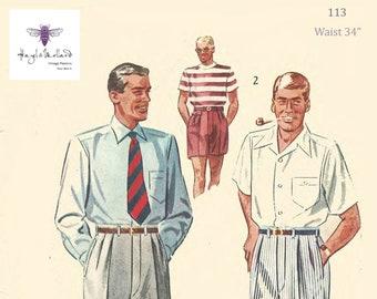 Men's Vintage Reproduction Sewing Patterns Vintage 1950s Sewing Pattern: Mens Slacks Pants Trousers Shorts Pleats Peaky Blinders Waist 38