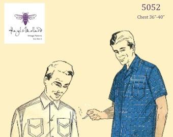 "Vintage 1950/'s 60/'s Sewing Pattern Men/'s Shirt Pocket Detailing Chest 36/"" 40/"""