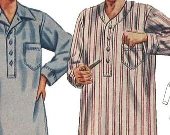 "PDF - 1940's Vintage Sewing Pattern: Regulation Men's Nightshirt - Chest 38""- 40"" - Instantly Print at Home"