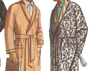 1960s Vintage Mens plaid  Smoking Jacket Robe Made in New Zealand Dressing Gown by Georgie  M