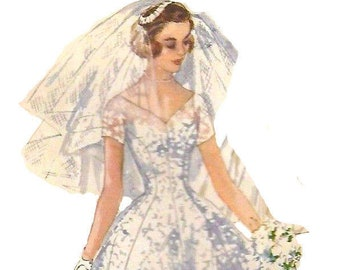 Vintage 1950's Sewing Pattern Grace Kelly Wedding Gown, Veil & Head-piece Bust 36""