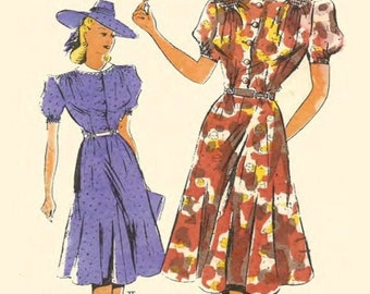 """PDF - 1940's Sewing Pattern: French Frocks Midi Tea Dresses - Bust 34"""" (86.4cm) - Instantly Print at Home"""
