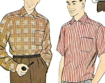 """PDF - 1950's Sewing Pattern Men's Sports Shirt - 38""""-40"""" (96.5cm - 101.6cm) - Instantly Print at Home"""