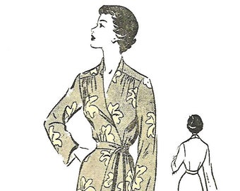 "Vintage 1940's Sewing Pattern Wrap Housecoat Robe Dressing Gown Stylish Yoke Rare B 36"" WW2 WWII"