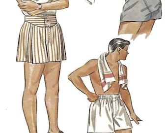 "PDF - Vintage 1940's Sewing Pattern Men's Jockey Shorts Boxer Shorts Size 32"" (81.3 cm) - Instantly Print at Home"