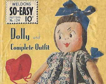Vintage 1940's Sewing Pattern Make Do and Mend WWII Rag Doll Dolly and Clothes RARE