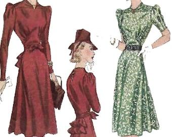 "PDF - 1940's Sewing Pattern: Elegant Tea Dress - Bust 32"" / 81.3cm - Instantly Print at Home"