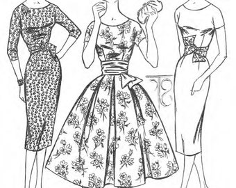 katie stevens on etsy Girls Dress Tutorial 1950 s vintage sewing pattern women s rockabilly dress bust 38