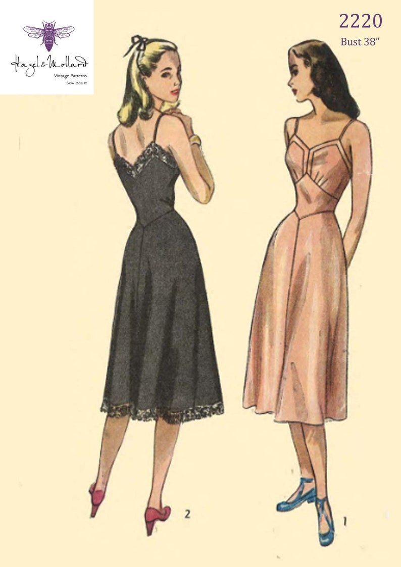 1940s Lingerie- Bra, Girdle, Slips, Underwear History Vintage 1940s Sewing Pattern: Womens Full Length Slip Bust 38
