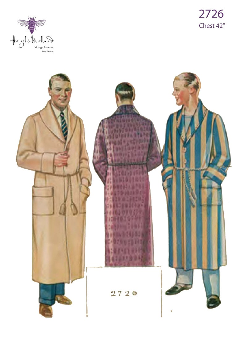 Men's Vintage Reproduction Sewing Patterns Vintage 1920s Sewing Pattern: Mens Lounging Robe Chest 42
