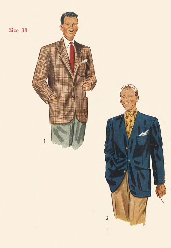 Vintage 1940\'s Sewing Pattern: Men\'s Jacket Chest | Etsy