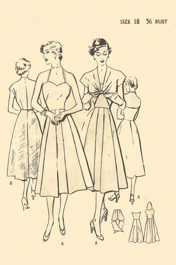 Vintage 1950\'s Sewing Pattern: Halter Neck Sun Dress & Tie | Etsy