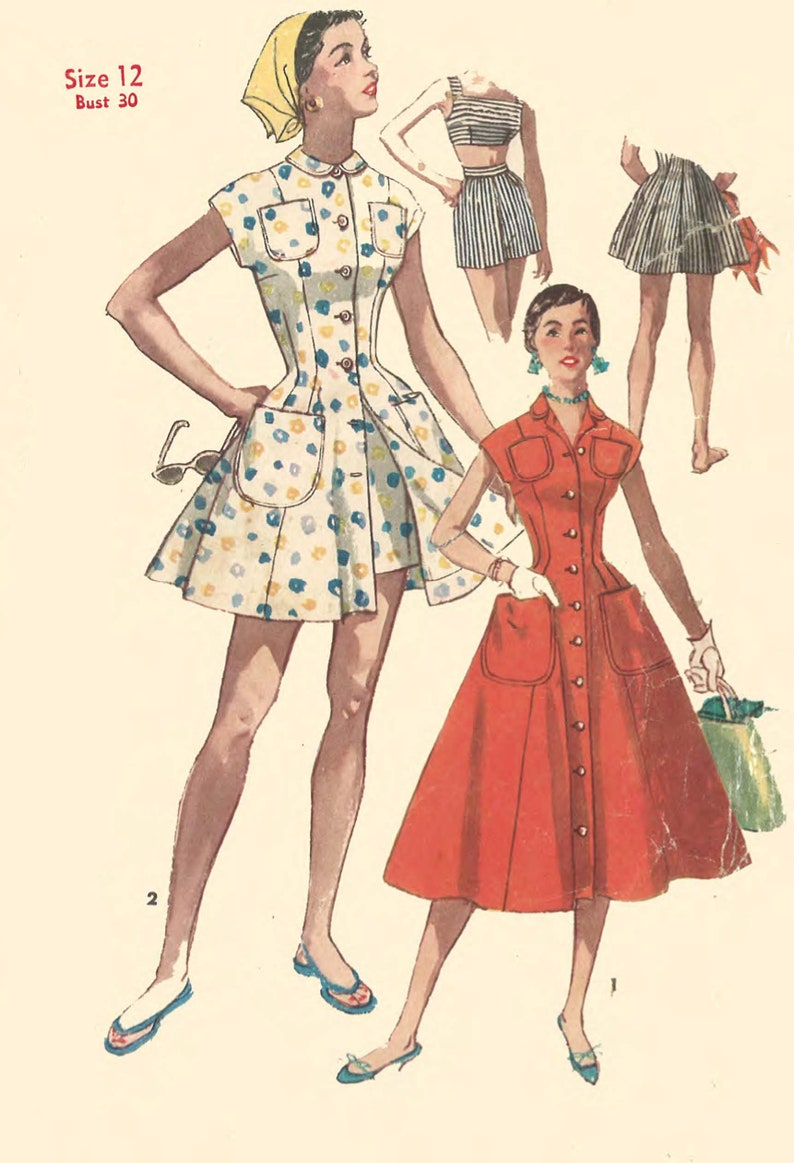 6be41a6ab89 Vintage 1950 s Sewing Pattern  Rockabilly Dress or