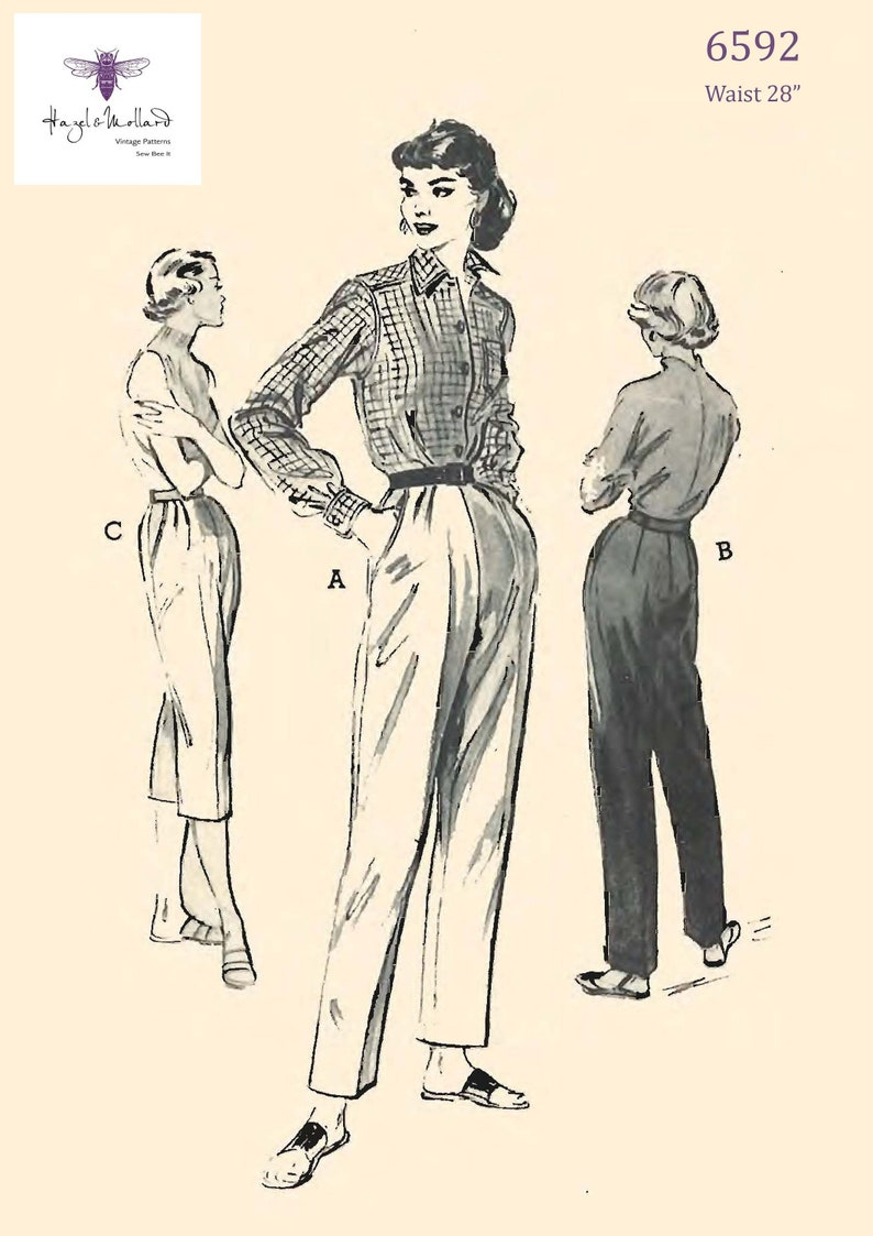 1950s Sewing Patterns | Dresses, Skirts, Tops, Mens Vintage 1950s Sewing Pattern: Cuffed Trousers Slacks Capri Pants Waist 28