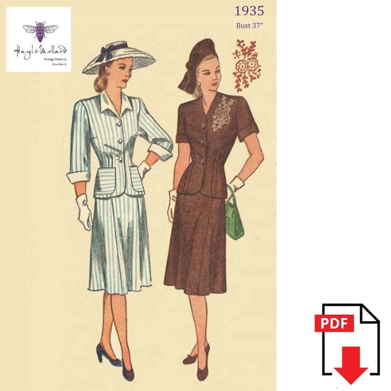 1940s Sewing Patterns – Dresses, Overalls, Lingerie etc Vintage 1940s Sewing Pattern: Womens Wartime Two-Piece Suit Bust 37