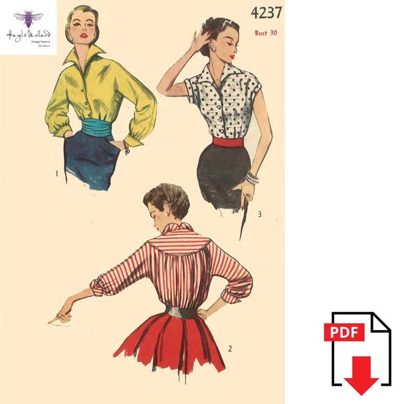 1950s Sewing Patterns | Dresses, Skirts, Tops, Mens Vintage 1950s Sewing Pattern Stylish Blouse Pin Up Rockabilly Bust 30