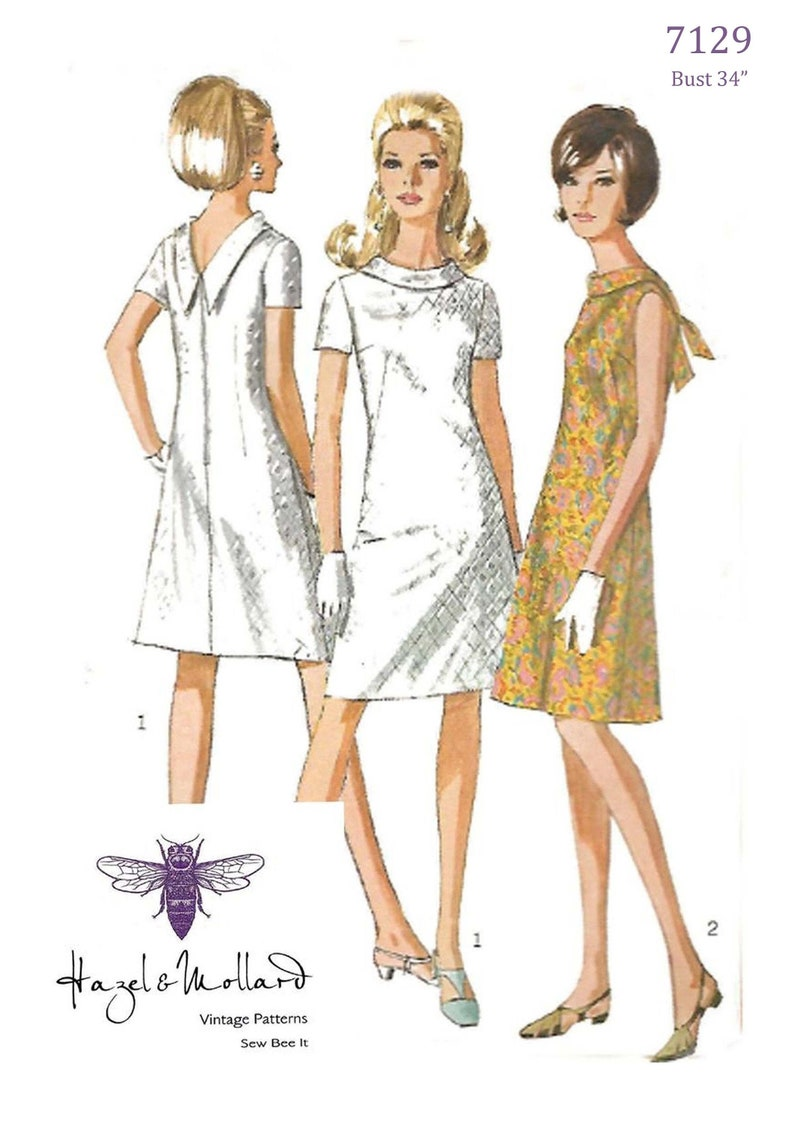 1960s Sewing Patterns | 1970s Sewing Patterns Vintage 1960s Sewing Pattern: A-Line V-Back Jiffy Dress MOD Bust 34